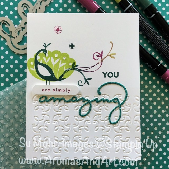 By Su Mohr for cts253 and tttc029; Click visit to go to my blof for details! Featuring: Beautiful Peacock, Amazing You, Celebrate You Dies; #saleabration #stampinup #tttc029 #cts253 #amazingyou #celebrateyou #birthdaycards