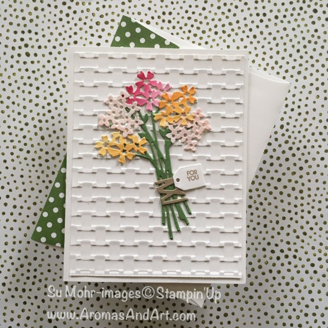By Su Mohr for Kre8tors April 2018 Blog Hop; Click visit to go to my blog for details! Featuring: Beautiful Bouquet Stamp Set, Bouquet Bunch Dies, Basket Weave Embossing Folder, Lots of Labels Dies; #birthdaycards #beautifulbouquet #basketweave #stampinup #colorchallenge #bouquetbunchdies #watercolor