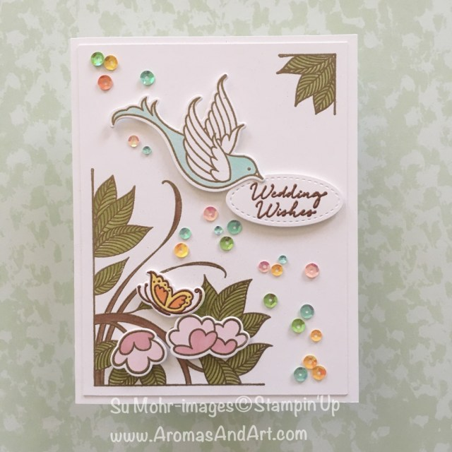 By Su Mohr for Pals June 2018 Blog Hop; Click Read to go to my blog for deatils! Featuring: Serene Garden, Floral Phrases, Gold embossing, Stampin' Blends, Iridescent Sequins; #weddingcards #forthebride #weddingwishes #serenegarden #floralphrases #stampinup #palsjunebloghop