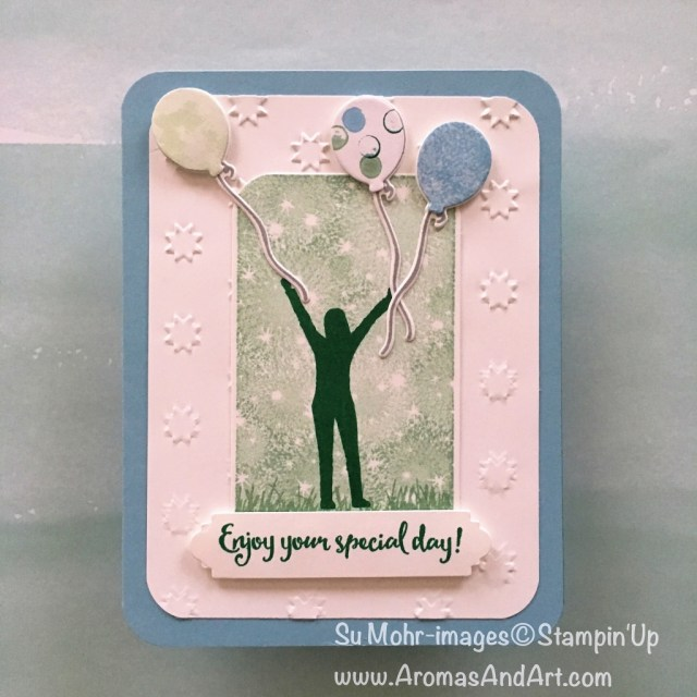 By Su Mohr; Click READ to go to my blog for details! Featuring: Enjoy Life, Blow Out the Candles, Bokeh Dots, Oh My Stars; #enjoylife #bokehdots #blowoutthecandles #birthdaycards #birthdayballoons #handmadecards #stampinup