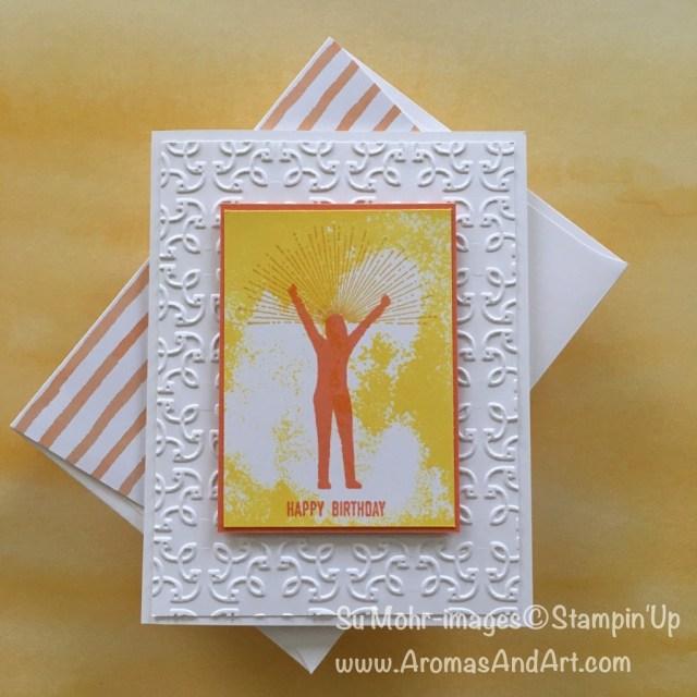 By Su Mohr for Kre8tors Blog Hop; Click Read to go to my blog for details; Enjoy Life, girl silhouette, Garden Trellis embossing folder; #enjoylife #girlsilhouette #birthdaycards #gardentrellis #wakeupkickbuttrepeat #newcolors
