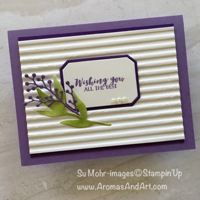 By Su Mohr for GDP152; Click READ to go to my blog for details! Featuring: First Frost, Corrugated embossing folder, Stampin' Up! #firstfrost #corrugated #birthdaycards #stampinup #handmadecards #cardchallenges #statis #flowers #purpleoncards