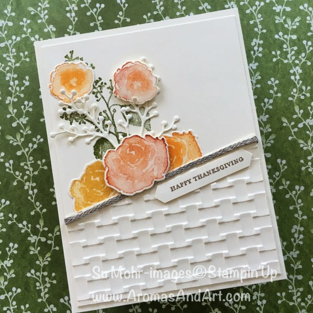 By Su Mohr for PP405 and TGIF172; Click READ to go to my blog for details! Featuring: First Frost, Basket Weave embossing folder, Braided Linen Trim, Thanksgiving; #thanksgivingcards #firstfrost #handmadecards #basketweave floralcards