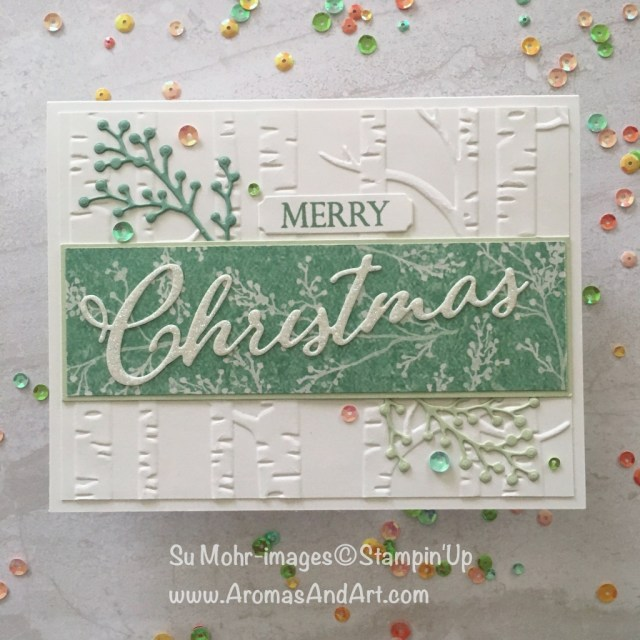 By Su Mohr for PP412; Merry Christmas To All, Frosted Bouquet, Woodland embossing, Iridescent Sequins; Click READ to go to my blog for details! #merrychristmas #christmascards #handmadecards #woodlandembossing #glimmerpaper #iridescentsequins #frostedfloralpaper #diy
