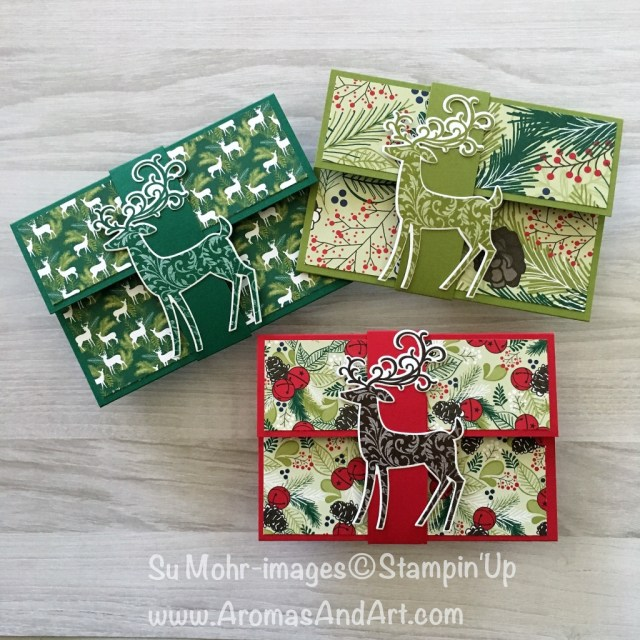 By Su Mohr for Pals Blog Hop Novemeber 2018; Click READ or VISIT to go to my blog for details! Featuring: Dashing Deer Bundle, gift card holders, Under the Mistletoe DSP; #christmasgiftcardholders #giftcardholders #handmade #diy #dtampinup #underthemistletoe #dashingdeer #detaileddeer #crafts #instructions