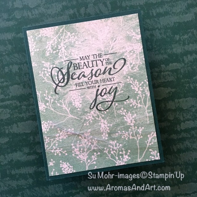 By Su Mohr for #greenwithenvy; Click READ or VISIT to go to my blog for details! Featuring: Frosted Floral paper, Stamparatus, Merry Christmas To All stamp set, Silver Metallic Thread; #merrychristmastoall #stamparatus #frostedfloralpaper #christmascards #holidaycards #xmascards #quickandeasy #stampinup