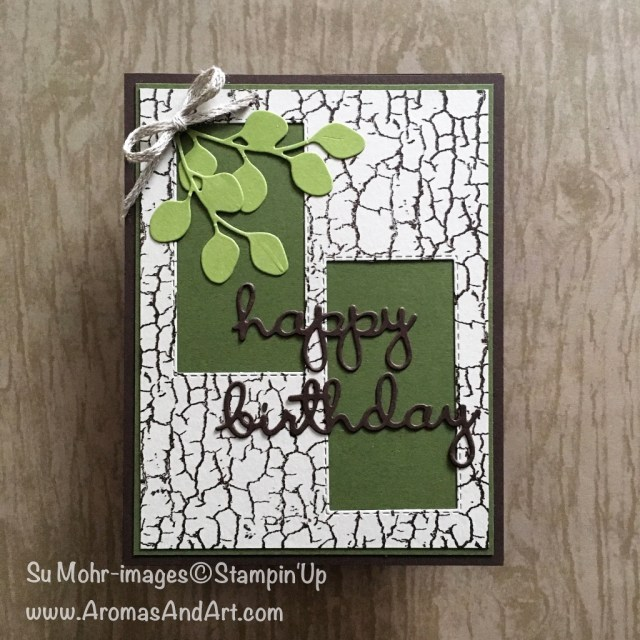 By Su Mohr for cts302; Click READ or VISIT to go to my blog for details! Featuring: Crackle Paint stamp, Well Written dies, Rectangle Stitched dies, In the Woods dies; #masculinecards #birthdaycards #wellwritten #cardchallenges #handmadecards #diy #rubberstamping