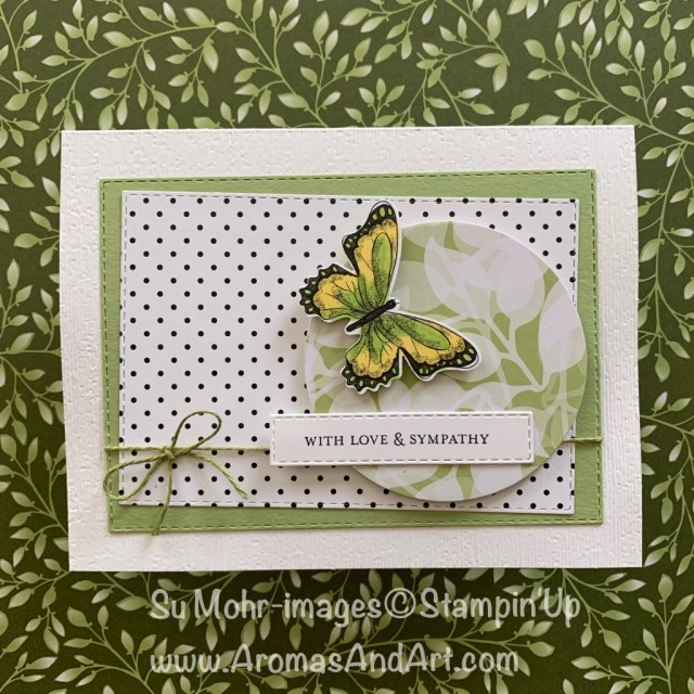 By Su Mohr for tgifc194; Click READ or VISIT to go to my blog for details! Featuring: Botanical Butterfly DSP, Rectangle Stitched dies, Layering Circle dies, Floral Romance dies, Itty Bitty Greetings stamp set, Butterfly Duet Punch; #sympathycards #handmadecards #diy #papercrafts #textureoncards #rectanglestitcheddies #cardchallenges #cardsketches