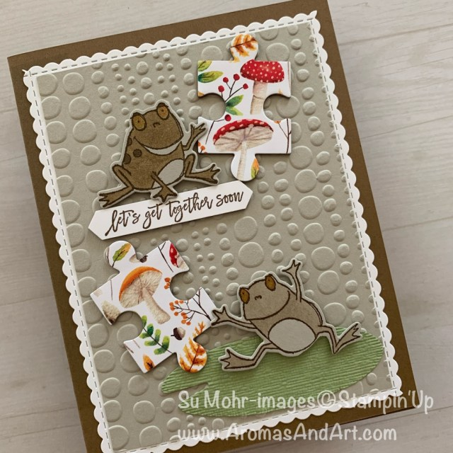 By Su Mohr for What Will You Stamp? Click READ or VISIT to go to my blog for details! Featuring: So Hoppy Together stamp set, Hop Around die set, Love You to Pieces stamp set, Puzzle Pieces die set, Be Mine Stitched die set, Dot To Dot embossing, Painted Seasons DSP; #paintedseasons #puzzlepieces #beminestitched #hoparound #dottodot #sohoppytogether #loveyoutopieces #handmadecards #frogs #toads #stampinup #saleabration