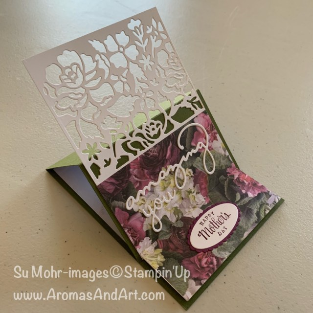 By Su Mohr for Pals May Blog Hop; Click READ or VISIT to go to my blog for details! Featuring: retiring products, Detailed Floral dies, Petal Promenade DSP, Celebrate You dies, Tea Together stamp set, Well Written dies, Layering Ovals dies; #motherdaycards #fancyfolds #easelfoldcard #easel #easelfold #handmadecards #handcrafted #diy #wellwritten #detailedfloral