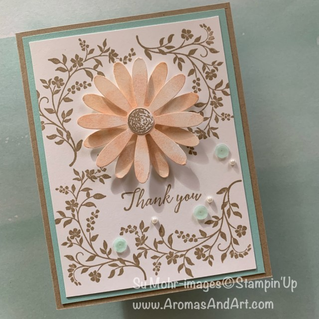 By Su Mohr for CAS(E) this sketch; Click READ or VISIT to go to my blog for details! Featuring: daisy Delight stamp set, Daisy Punch, Hold On To Hope stamp set; #daisies #daisy delight #holdontohope #handmadecards #handcrafted #cardchallenges #cardsketches #thankyoucards