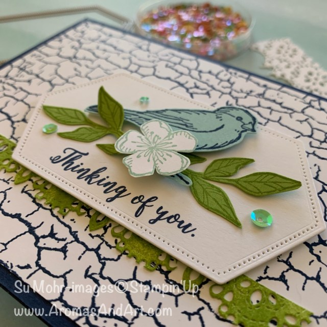 By Su Mohr for TGIF and Fab Fri; Click READ or VISIT to go to my blog for details! Featuring: Free As A Brird Bundle, Free As A Bird stamp set, Stitched Nested Label Dies, Crackle Paint background stamp; #freeasabird #bundles #stampinupbundles #cardmaking #handmadecards #handcrafted #cracklepaint #birds #birdsoncards #thinkingofyou #cardchallenges