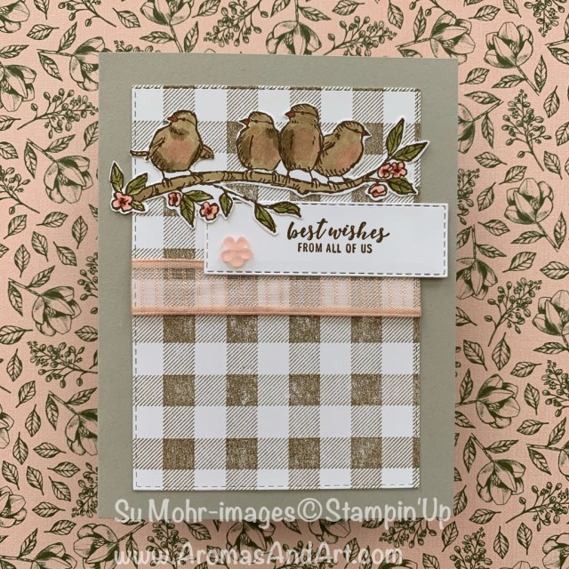 By Su Mohr for cts; Click READ or VISIT to go to my blog for details! Featuring: Free As A Bird Stamp Set, Buffalo Check Stamp, Rectangles Stitched Dies, Stampin' Blends; #freeasabird #buffalocheck #organdyribbon #cardchallenges #holidaycatalog #handmadecards #handcrafted #diy #birthdaycards #birds #birdsoncards