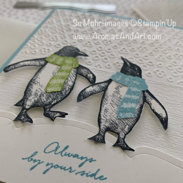 By Su Mohr for FMS; Click READ or VISIT to go to my blog for details! Featuring: Playful Penguins stamp set, Eyelet Lace embossing, Subtle Texture embossing, Magnolia Memory Dies, Paper Snips; #2019holiday ##friendshipcards #penguins #penguincards #playfulpenguins #embossingtechnique #cardtechniques #fussycutting #christmascards #handmadecards #handcrafted #diy
