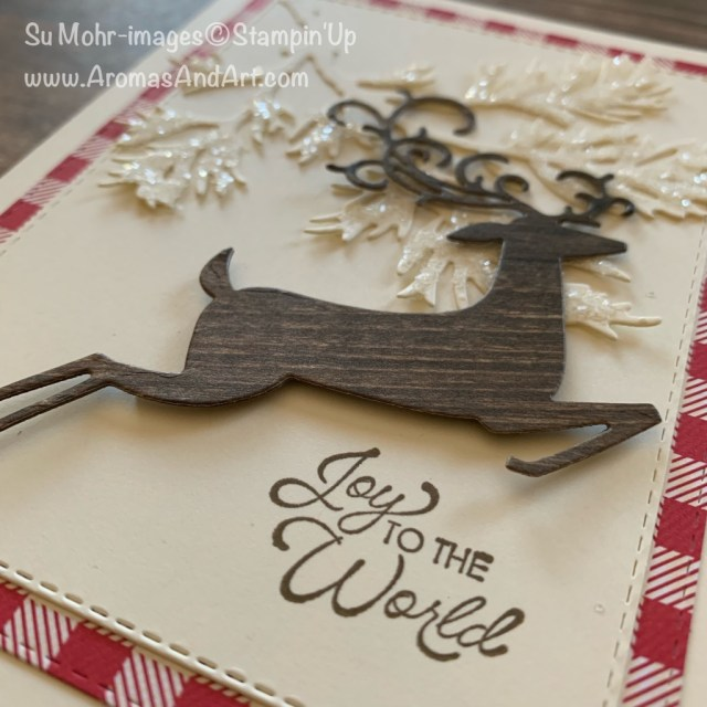 By Su Mohr; Click READ or VISIT to go to my blog for detaisl! Featuring: Beautiful Boughs Die Set, Detailed Deer Die Set, Itty Bitty Christmas Stamp Set, Shimmery Crystal Effects, Ice Stampin' Glitter, Toile Tidings DSP; #christmascards #holidaycards #reindeer #2019holidaycatalog #handmdecards #handcrafted #cardmaking #diy #toiletidings #detaileddeer #beautifulboughs