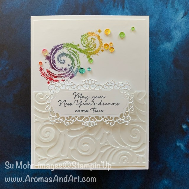 By Su Mohr for TGIF and CAS(E) this sketch; Click READ or VISIT to go to my blog for details! Featuring: Stargazing Stamp Set, Playful Penguins Stamp Set,Assorted Sequins, Stampin' Write Markers, embossed Vellum, Ornate Frames Dies; #dryembossing #vellum #vellumoncards #newyearscards #2020cards #Holiday2020 #playfulpenguins #stargazing #swirls&curls #handmadecards #handcrafted #diy #cardmaking