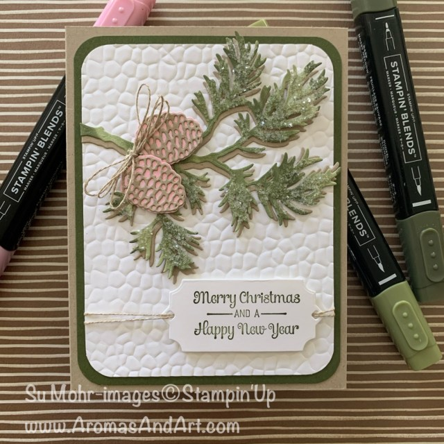By Su Mohr for GDP; Click READ or VISIT to go to my blog for details! Featuring: Beautiful Boughs Dies, Itty Bitty Christmas Stamp Set, Detailed Trio Punch, Ice Stampin' Glitter, Shimmery Crystal Effects, Hammered metal embossing; #christmascards #holidaycards #newyearscards #beautifulboughs #pinecones #boughs #colorcombinations #colorchallenges #handmadecards #handcrafted #diy #cardmaking #