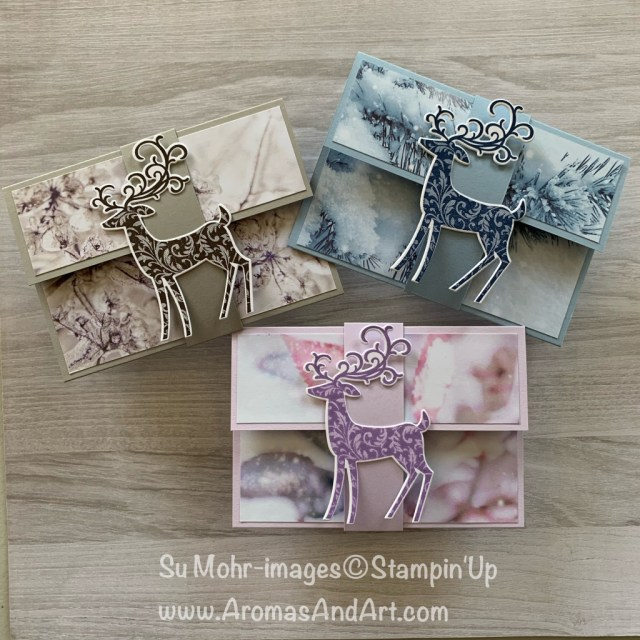 By Su Mohr for Kre8tors Blog Hop; Click READ or Visit to go to my blog for details! Featuring: gift card holders, Detailed Deer Dies, Dashing Deer Stamp Set, Stampin' Up! Paper Trimmer, feels Like Frost DSP; #giftcardholders #christmasgifts #lastminute #christmascards #holidaycards #fancyfolds #funfolds #handmadecards #handcrafted #diy #cardmaking #reindeer #reindeeroncards #bloghops