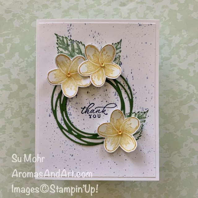 By Su Mohr for GDP; Click READ or VISIT to go to my blog for details! Featuring: Timeless Tropical Stamp Set, In the Tropics Dies, Painted Labels Stamp Set, Layering Circles Dies, Aqua Painters; #timelesstropics #inthetropics #aquapainters #thankyoucards #tropicalcards #paintedlabels #tropicalcards #handmadecards #handcrafted #diy #cardmaking #aquapaintertechnique #splattertechnique #cardtechniques #stampinup #2020minicatalog