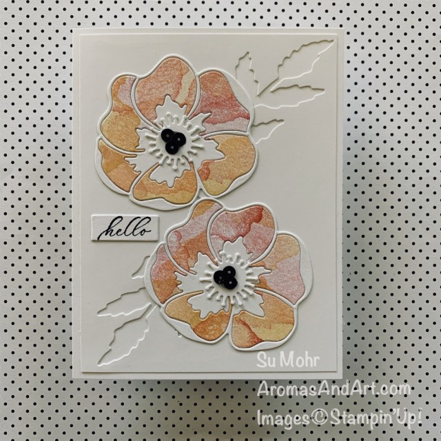 By Su Mohr; Click READ or VISIT to go to my blog for details! Featuring: Poppy Moments Dies, Painted Poppies Stamp Set, Timeless Tropical Stamp Set; #paintedpoppies #poppymoments #poppies #poppiesoncards #flowersoncards #friendshipcards #stampinup #2020minicatalog #handmadecards #handcrafted #diy #cardmaking #papercrafting