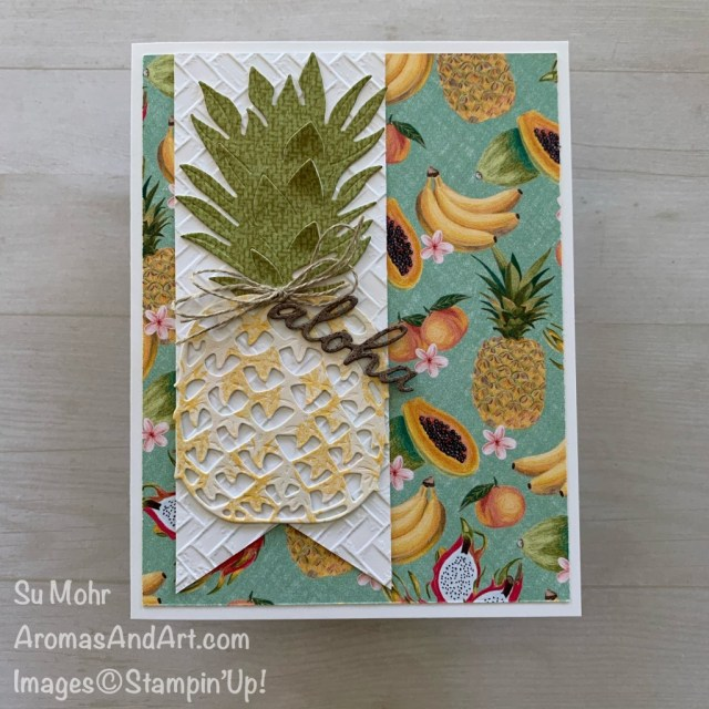 By Su Mohr for GDP; Click READ or VISIT to go to my blog for details! Featuring: In The Tropics Dies, Tropical Oasis DSP, Coastal Weave embossing, Banner Triple Punch; #aloha #pineapples #pinapplesoncards #tropicalcards #inthetropics #tropicaloasis #tropicalfruit #handmadecards #handcrafted #diy #cardmaking #cardsketches #friendshipcards #fruitoncards