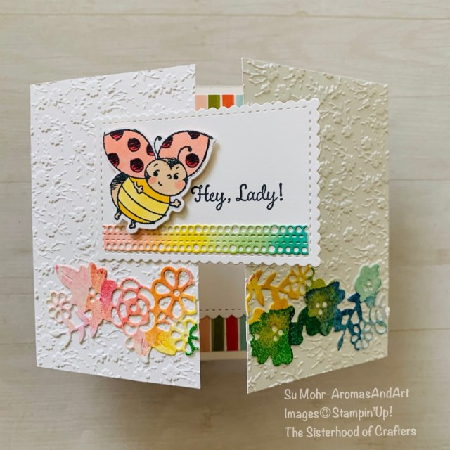 By Su Mohr for the Sisterhood of Crafters Design Team; Click READ or VISIT to go to my blog for details! Featuring: Little Ladybug Stamp Set, In Colors, Ornate Border Dies, Ornate Floral embossing; #birthdaycards #funfolds #funfoldcards #gatefold #rainbowcolors #littleladybug #ladybugcards #incolors #stampinblends #ornatefloralembossing ##stampinblends #handmadecards #handcrafted #diy #cardmaking #cardchallenges #drawings #randomdrawings