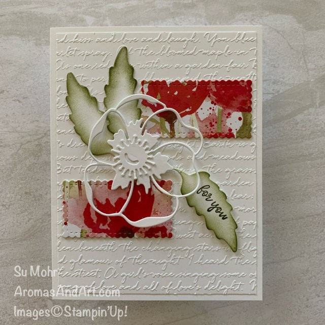 By Su Mohr for FMS; Click READ or VISIT to go to my blog for details! Featuring: Stitched So Sweetly Dies, Poppy Moments Dies, Peaceful Poppies DSP, So Sentimental Stamp Set, Scripty embossing; #friendshipcards #scriptyembossing #sosentimental #Stitchedsosweetly #poppymoments #handmadecards #handcrafted #diy #cardmaking #papercrafting #stampinup #poppies #fllowersoncards