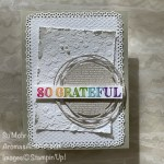 By Su Mohr for cts; Click READ or VISIT to go to my blog for detaisl! Featuring: Ornate Thanks Stamp Set, Ornate Layers Dies, Neutrals 6X6 Paper, Ornate Floral embossing, Painted Labels Dies, Stampin