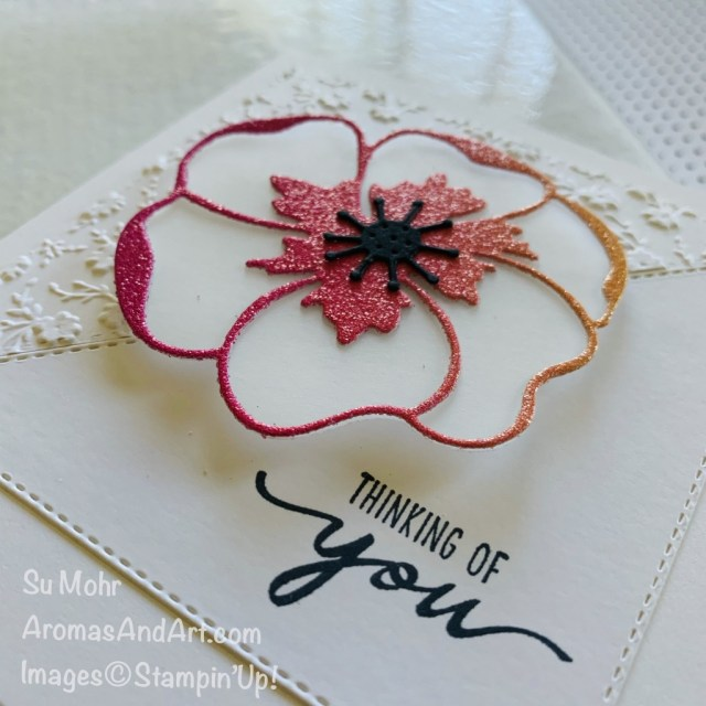 By Su Mohr; Click READ or VISIT to go to my blog for details! Featuring: Stitched Triangle Dies; Rainbow Glimmer Paper, Vellum Cardstock, Poppy Moments Dies, Ornate Floral embossing, Beautiful Moments Stamp Set; #stitchedtriangles #squarecard #poppymoments #poppiesoncards #poppies #handmadecards #handcrafted #diy #cardmaking #papercrafting
