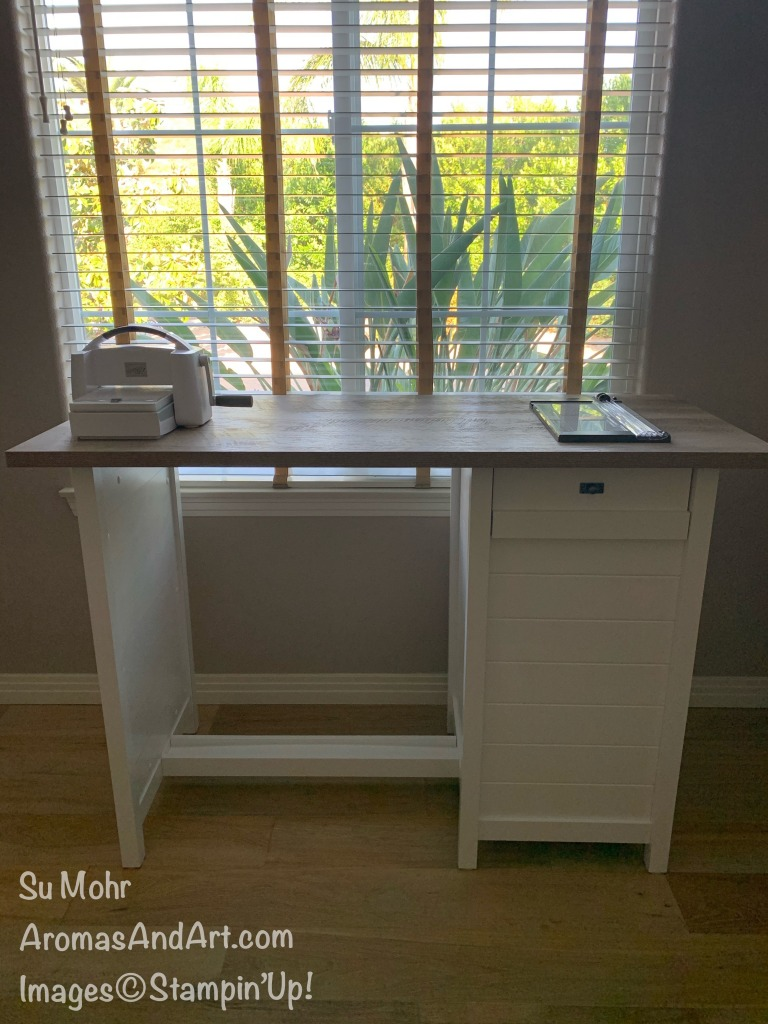 By Su Mohr for Aromas And Art; #counterheightdesk #standingdesk #craftrooms #craftorganization #cardmaking #stampincut&embossmachine #stampintrimmer #workstations