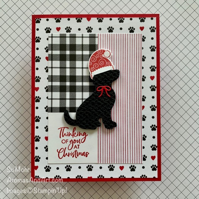 By Su Mohr for TGIF; Click READ or VISIT to go to my blog for details! Featuring: Dog Punch, Itty Bitty Christmas Stamp Set, Little Treats Bundle, Plaid Tidings Paper, Playful Pets Paper, Tasteful Textile embossing; #christmascards #holidaycards #dogs #blacklabs #dogsoncards #dogpunch #littletreats #handmadecards #handcrafted #diy #cardmaking #papercrafting #stampinup #holiday2020 #playfulpets #santahats