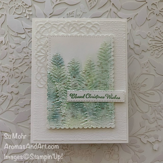 By Su Mohr for #GDP260; Click READ or VISIT to go to my blog for details! Featuring: Square Vellum Doilies, Evergreen Forest embossing, Subtle Textured embossing, Stitched So Sweetly Dies; #christmascards #evergreenforest #spongedaubers #winkofstella ##stitchedsosweetly #holidaycards #quickandeasy #cleanandsimple #trees #treesoncards #handmadecards #handcrafted #diy #cardmaking #papercrafting
