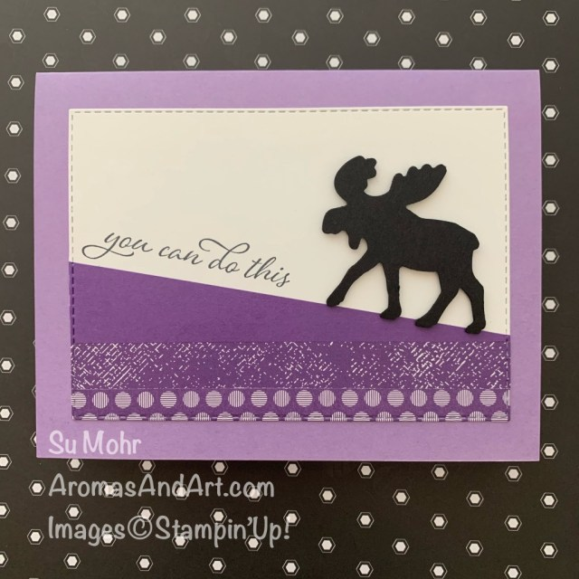 By Su Mohr for Fusion; Click READ or VISIT to go to my blog for details! Featuring: Moose Punch,Stitched Rectangles Dies, Forever Fern Stamp Set, Brights 6X6 Designer Paper ; #moose #moosepunch #uphillbattle #encouragementcards #friendshipcards #handmadecards #handcrafted #diy #cardmaking #papercrafting #stampinup #holiday2020 #youcandothis