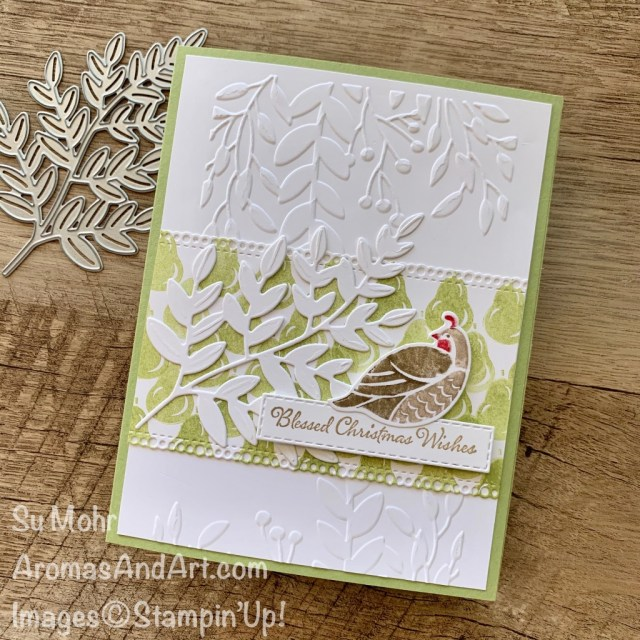 By Su Mohr for cts; Click READ or VISIT to go to my blog for details! Featuring: Arrange A Wreath Bundle; Forever Flourishing Dies, Greenery embossing Ornate Borders Dies, Itty Bitty Christmas Stamp Set; #christmascards #holidaycard #partridge #12daysofchristmas #pears #peartree #handmadecards #handcrafted #diy #cardmaking #papercrafting