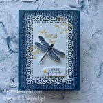 By Su Mohr for #onstageathome; Click READ or VISIT to go to my blog for details! Featuring: Dragonfly Gardens Bundle; Dragonflies Punch,Ornate Layers Dies, Ornate Frames Dies, In Color Enamel Dots; #dragonflygardens #dandygardens #2021catalog #fragonflies #dragonfliesoncards #handmadecards #handcrafted #diy #cardmaking #papercrafting #cardinstruction #onstageathome #alternativedesign #alternatives #stampinup #stampinup2021