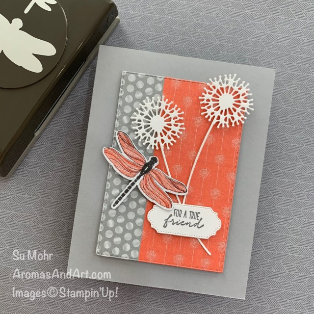 By Su Mohr for FMS; Click READ or VISIT to go to my blog for details! Featuring: Dragonfly Garden Bundle, Dragonflies Punch, Sweet Silhouettes Dies, Ornate Frames Dies, Dandy Garden Designer Paper; #dragonglygarden #dandygarden #dragonfliespunch #dragonflies #dragonfliesoncards #friendshipcards #handmadecards #handcrafted #diy #cardmaking #cardinstruction #papercrafting #stampinup #onstageathome #cardsketches #sweetsilhouettes #dandelions