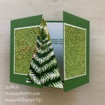 By Su Mohr; Click aromasandart.com to go to my blog for details! Featuring: Forever Greenery Designer Paper, Stitched Triangles Dies, Joy Dies, Brushed Metallic Cardstock, Cherish The Season Stamp Set; #christmascards #holidaycards #holiday2020 Christmastrees #treesoncards #fancyfolds fancyfoldcards #gatefold #forevergreenery #stitchedtriangles #joydies #joy #joyoncards #handmadecards #handcrafted #diy #cardmaking #papercrafting #cardinstruction #stampinup