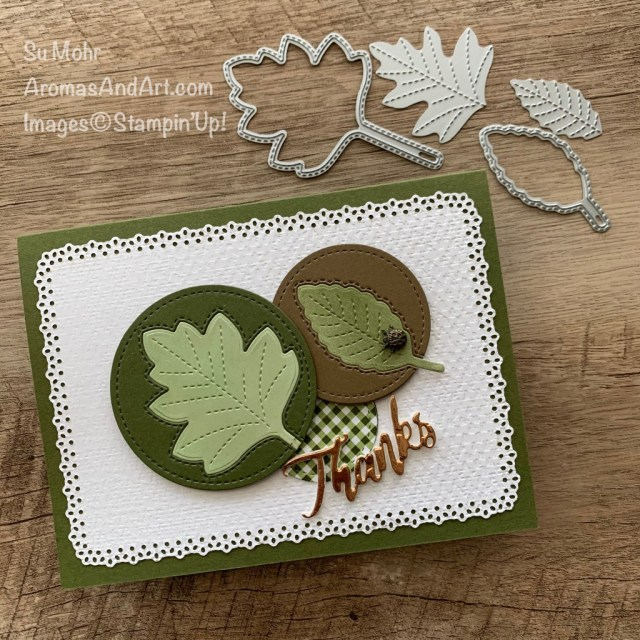 By Su Mohr for Fusion; Click aromasandart.com to go to my blog for details! Featuring: Stitched Leaves Dies, Ornate layers Dies, Tasteful Textile embossing, Stitched Shapes Dies, Copper Foil, Word Wishes Dies, Ladybug Trinkets, Blending Brushes; #thankyoucards #thanksgivingcards #stitchedleaves #leaves #leavesoncards #cardsketches #cardthemes #cardinspiration #handmadecards #handcrafted #diy #cardmaking #papercrafting #cardinstruction #blendingbrushes