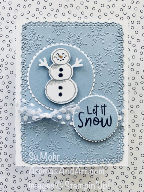 By Su Mohr for TGIF; Click READ or VISIT to go to my blog for details! Featuring: Snowman Season Stamp Set, Snowman Builder Punch, Winter Snow embossing, Ornate Layers Dies, Layering Circles Dies, Polka Dot Tulle Ribbon; #christmascards #holidaycards #holiday2020 #snoman #snowmenoncards #snowmanseason #snowmanpunch #handmadecards #handcrafted #diy #cardmaking #papercrafting #cardinstruction #frosty #frostythesnowman #snowoncards #circlesoncards #cardthemes #cardchallenges