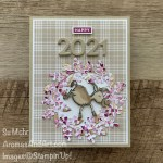 By Su Mohr; Click aromasandart.com to go to my blog for details! Featuring: Darling Donkeys Stamp Set, Berry Delightful Designer Paper, Peace & Joy Stamp Set, Wreath Builder Dies, Playful Alphabet Dies; #2021 #newyearcards #darlingdonkeys #wreaths #donkeys #donkeysoncards #plaidpaper #wreathsoncards #saleabration #stampinup #handmadecards #handcrafted #diy #cardmaking #papercrafting #happynewyear #sneakpeeks