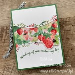 By Su Mohr for TGIF; Click aromasandart.com to go to my blog for details! Featuring: Berry Blessings Bundle, Quite Curvy Bundle, Ladybug Trinkets; #berryblessings #quitecurvy #curvydies #ladybugs #strawberries #strawberriesoncards #SAB #stampinup #stampinup2021 #handmadecards #handcrafted #diy #cardmaking #papercrafting #stamping #caseing #sumohr #aromasandart