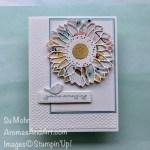 By Su Mohr for PP; Click aromasandart.com to go to my blog for details! Featuring: Fine Art Floral Designer Paper, Ornate Thanks Stamp Set, Sunflowers Dies, Stitched Rectangles Dies, Tasteful Textile Embossing Folder; #fineartfloral #ornatethanks #sunflowers #sunflowersoncards #flowers #flowersoncards #handmadecards #handcrafted #diy #cardmaking #papercrafting #sumohr #aromasandart #stampinup #saleabration2021