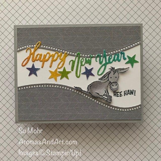 By Su Mohr; Click aromasandart.com to go to my blog for details! Featuring: Darling Donkeys, Curvy Dies, Word Wishes Dies, Rainbow Glimmer Paper; #darlingdonkeys #donkeys #donkeysoncards #newyearscards #newyear2021 #2021 #curvydies ##happynewyear #handmadecards #handcrafted #diy #cardmaking #papercrafting
