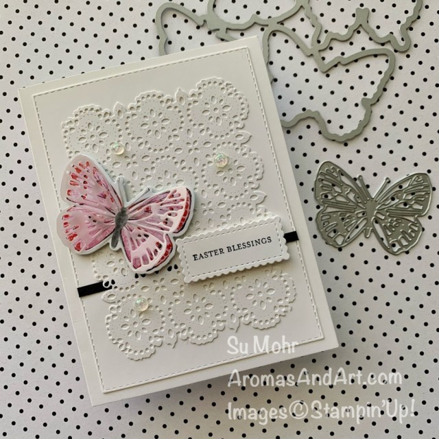 By Su Mohr for PP; Click aromasandart to go to my blog for details! Featuring: Butterfly Bouquet, Butterfly Bijou Designer Paper, Brilliant Wings Dies, Stitched So Sweetly Dies, Stitched Rectangles Dies, Stitched Lace Dies, Itty Bitty Greetings Stamp Set
