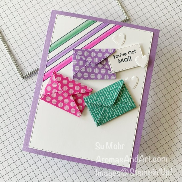 By Su Mohr for FMS; Click aromasandart.com to go to my web site for details! Featuring: Snailed It Stamp Set, Snail Dies, Stitched Rectangles Dies, Stampin' Blends, 6X6 Designer Paper; #you'vegotmail #snailedit #snaildies #envelopedie #miniatureenvelope #colorcombinations #sumohr #aromasandart #cardchallenges #cardsketches #handmadecards #handcrafted #diy #cardmaking #papercrafting #stamping