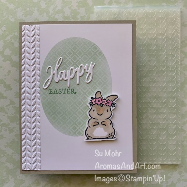 By Su Mohr for GDP282; Click aromasandart to go to my web site for details! Featuring: Springtime Joy Stamp Set,Gift Of Hope Stamp Set, Forever Gold laser-Cut Paper, Word Wishes Dies, Layering Ovals Dies; #springtimejoy #giftofhope #Forevergoldlaser-cutpaper #wordwishesdies #stenciling #stencilingtechnique #eastercards #bunnies #bunniesoncards #eastereggs #handmadecards #handcrafted #diy #cardmaking #papercrafting #sumohr #aromasandart