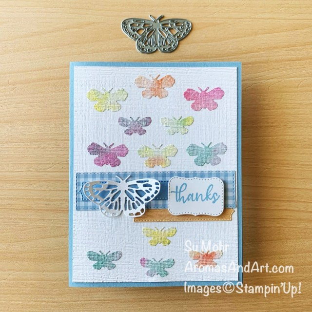 By Su Mohr for GDP 284; Click aromasandart to go to my web site for details! Featuring: Brilliant Wings Dies, Simply Succulents Stamp Set, Potted Succulents Dies, Ornate Frames Dies, Subtle Textured embossing Natural Touch Specialty paper Butterfly Bijou Designer Paper; #butterflies #butterflybrilliance #butterfliesoncards #caseingcards #thankyoucards #cardchallenges #handmadecards #handcrafted #cardmaking #diy #papercrafting #sumohr #aromasandart