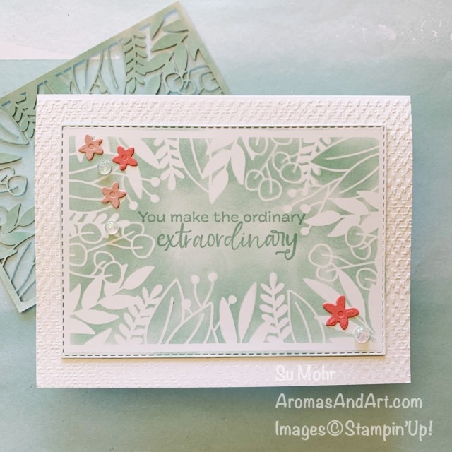 By Su Mohr for TGIF; Click aromasandart to go to my web site for details! Featuring: Forever Gold Laser-Cut Paper,Stitched Rectangles Dies, Tasteful Textile embossing, Special Day Dies, Opal Rounds; #stenciling #forevergoldlaser-cutpaper #stencilingoncards #tastefultextileembossing #blendingbrushes #simplysucculents #handmadecards #handcrafted #diy #cardmaking #papercrafting #sumohr #aromasandart #stampinup #stamping