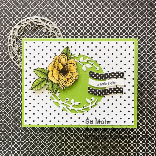 By Su Mohr for GDP286; Click aromasandart to go to my web site for details! Featuring: True Love Designer Paper, Birds & More Dies, Ornate Frames Dies, Itty Bitty Greetings; #friendshipcards #alittlehello #blackandwhitepaper #truelove #gdp286 #sumohr #aromasandart #cardsketches #cardchallenges #card making #papercrafting #diy #handmadecards #handcrafted #stampinup