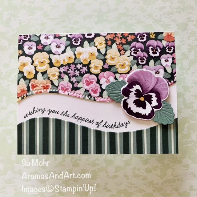 By Su Mohr for PP; Click aromasandart to go to my web site for detyails! Featuring: Pansy Petals Designer Paper, Pansy Dies, Curvy Dies, Quite Curvy Stamp Set;By Su Mohr for FMS; Click aromasandart to go to my web site for details! Featuring: Pansy patch Stamp Set, Pansy Dies, Painted Texture embossing, Stitched So Sweetly Dies;#handmadecards #handcrafted #diy #cardmaking #papercrafting #stampinup #sumohr #aromasandart #aromasandart.com/shop #cardinstruction #pansypatch #pansydies #paintedtexture #pansies #flowersoncards #2021-2022stampinup